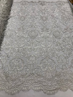 White Beaded Fabric 3D Damask Design Embroidered 3D Pattern Design Fabric on Mesh Sold By The Yard