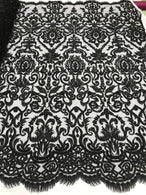 Black Beaded Fabric 3D Damask Design Embroidered 3D Pattern Design Fabric on Mesh Sold By The Yard