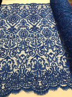 Royal Blue Beaded Fabric 3D Damask Design Embroidered 3D Pattern Design Fabric on Mesh By The Yard