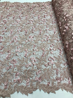Guipure 3D Lace Fabric - Dusty Rose - Embroidered 3D Flower with Bead Lace Fabric Sold By The Yard