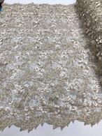 Guipure 3D Lace Fabric - Champagne - Embroidered 3D Flower with Bead Lace Fabric Sold By The Yard