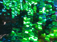 Iridescent - Blue/Green - Circle Sequins Hologram Fabric - Multi-Color Fabric Sold By The Yard