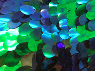 Iridescent Sequins Hologram Fabric - Blue/Green Oval Teardrops - 58 Inch Fabric Sold By The Yard
