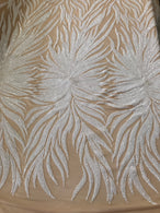 Phoenix Feather Sequins - White -  4 Way Stretch Phoenix Pattern Top Fashion Design Fabric