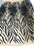 Phoenix Feather Sequins - Black-  4 Way Stretch Phoenix Pattern Top Fashion Design Fabric