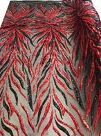 Phoenix Feather Sequins - Red/ Black -  4 Way Stretch Phoenix Pattern Top Fashion Design Fabric