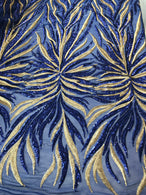 Phoenix Feather Sequins - Royal Blue / Gold 4 Way Stretch Phoenix Pattern Top Fashion Design Fabric