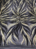 Phoenix Feather Sequins - Light Gold / Black 4 Way Stretch Phoenix Pattern Top Fashion Design Fabric