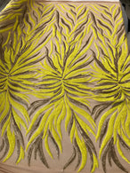Phoenix Feather Sequins - Yellow / Matte Gold - 4 Way Stretch Phoenix Pattern  Fashion Design Fabric