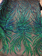 Phoenix Feather Sequins - Jade Blue / Green - 4 Way Stretch Phoenix Pattern Fashion Design Fabric