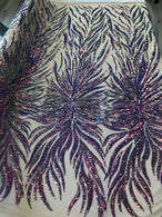 Phoenix Feather Sequins - Iridescent Lavender - 4 Way Stretch Phoenix Pattern Fashion Design Fabric