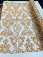 Floral - Gold - Embroided Lace Fabric Damask Pattern - Beautiful Fabrics Sold by The Yard