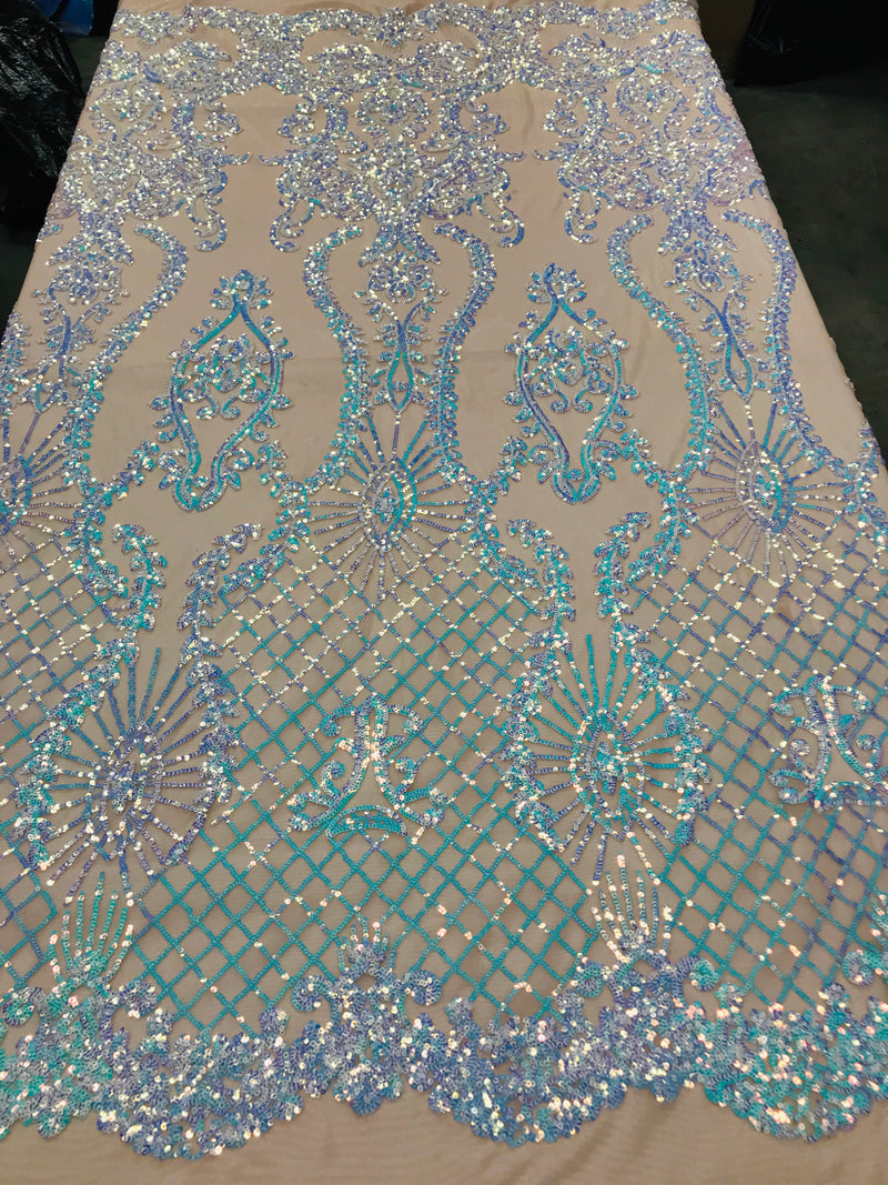 Sequins Damask Pattern - Iridescent Light Blue - 4 Way Stretch Designer Fabrics in Shiny Patterns