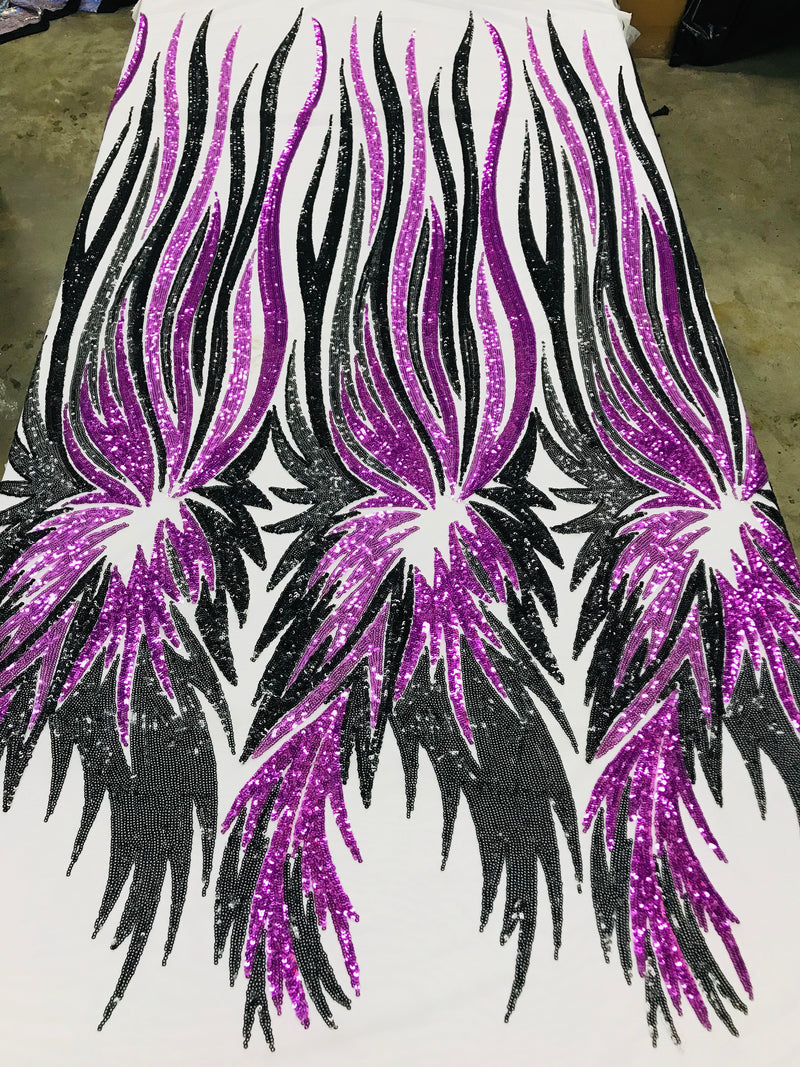 Phoenix Wing Sequins - Purple / Black - 4 Way Stretch Wings Pattern Design Fabric By Yard