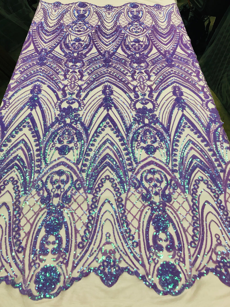 Fish Net Damask Sequins - Lilac / Aqua - 4 Way Stretch Shiny Fashion Sequins By Yard