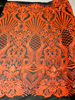 Glam Pattern Sequins - Neon Orange - 4 Way Stretch Colorful Designer Net Sequins Fabrics