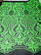 Glam Pattern Sequins - Neon Green - 4 Way Stretch Colorful Designer Net Sequins Fabrics
