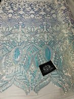 Iridescent Fabric - Iridescent Clear Aqua White Mesh - 4 Way Stretch Sequins Holographic Fabric