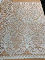 Geometric Pattern Sequins - White Nude Mesh - 4 Way Sample