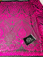 Geometric Pattern Sequins - Neon Pink - 4 Way Stretch Colorful Shine Designer Sequins
