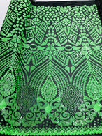 Geometric Pattern Sequins - Neon Green - 4 Way Stretch Colorful Shine Designer Sequins