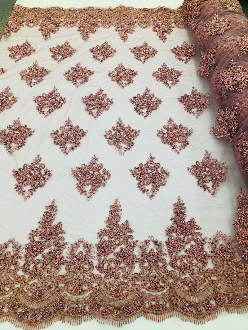 Beaded Fabric By The Yard Dk Rose Embroidered Pattern Beaded On A Mesh For Bridal Veil Wedding