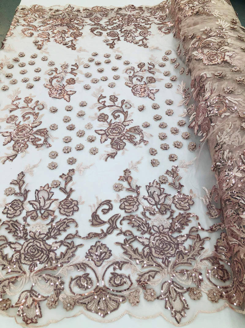 Blush - Mini 3D Flower Embroidered Mesh Sequins And Beaded Fabric Sold By The Yard