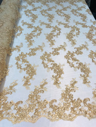 Floral Lace Fabric - Light Gold - Flowers Embroidery Sequins Mesh Design Fabric Sold By The Yard