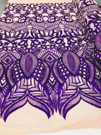 4 Way Stretch - Purple - Sequins Mesh Design Fancy Dress Fabric Sold By The Yard