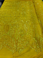 4 Way Stretch - Yellow - Sequins Mesh Design Fancy Dress Fabric Sold By The Yard