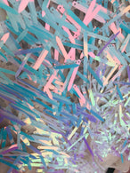 Sword Design - Unicorn - Iridescent Sequins Fabric Embroidery On A Mesh For Sold By The Yard