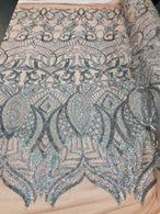 4 Way Stretch - Hologram Silver Nude Mesh - Sequins Mesh Design Fancy Dress Fabric Sold By The Yard