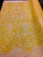 4 Way Stretch - Yellow - Damask Fish Net Design Sequins Fashion Dress Fabric Mesh Sold By The Yard