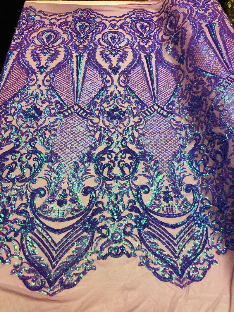 4 Way Stretch Iridescent Lilac Damask Fish Net Design Sequins Fashion Dress Fabric Mesh By The Yard
