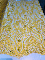Beaded Fabric - Yellow - Embroidered Flower Line Mesh Lace Fabric with Beads Sold By The Yard