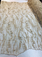 Beaded Fabric - Champagne - Embroidered Flower Line Mesh Lace Fabric with Beads Sold By The Yard