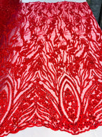 Beaded Fabric - Red - Embroidered Flower Line Mesh Lace Fabric with Beads Sold By The Yard