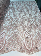Beaded Fabric - Blush - Embroidered Flower Line Mesh Lace Fabric with Beads Sold By The Yard