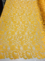 Guipure Lace Fabric - Yellow  - Embroidered Bridal Wedding Dress Design Sold By The Yard