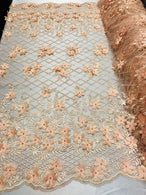 3D Floral Design - Peach - Embroidered 3D Flowers on Triangle Net Mesh Sold By The Yard