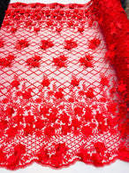 3D Floral Design - Red - Embroidered 3D Flowers on Triangle Net Mesh Sold By The Yard