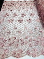 3D Floral Design - Dusty Rose - Embroidered 3D Flowers on Triangle Net Mesh Sold By The Yard