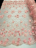 3D Floral Design - Pink - Embroidered 3D Flowers on Triangle Net Mesh Sold By The Yard