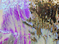 Flip Up Sequins Reversible - Hologram Pink / Gold Two Tone Mermaid Sequins Spandex Fabric By Yard