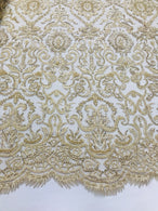 Champagne Beaded Fabric 3D Damask Design Embroidered 3D Pattern Design Fabric on Mesh By The Yard