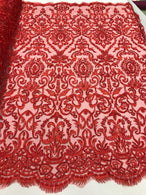 Red Beaded Fabric 3D Damask Design Embroidered 3D Pattern Design Fabric on Mesh Sold By The Yard