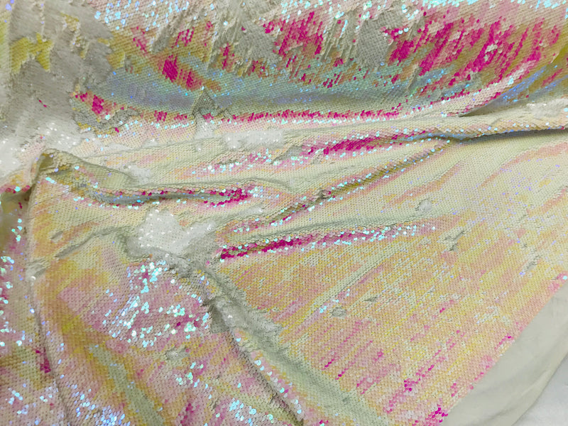 Two Tone Reversible - Iridescent Pink  White - 2 Way Stretch Shiny Sequins Fabric By The Yard