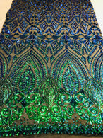 Shiny Pattern Sequins - Jade Blue / Green - 4 Way Stretch Multi Pattern Net Design Fabric