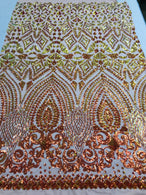 Shiny Pattern Sequins - Iridescent Orange / Nude Mesh 4 Way Stretch Multi Pattern Net Design Fabric