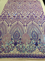 Shiny Pattern Sequins - Iridescent Lilac - 4 Way Stretch Multi Pattern Net Design Fashion Fabric